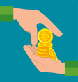 hand pay coins icon vector image