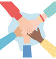 human rights together hands diversity people vector image