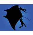 Marine fish ramp and two divers vector image vector image