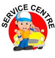 mechanic repairs car vector image