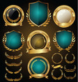 medieval gold and blue shields laurel wreaths and vector image vector image