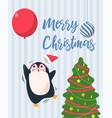 merry christmas balloon penguin vector image