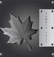 metal shield maple leaf vector image vector image