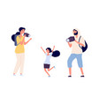 parents make photos young girl photo model posing vector image vector image