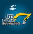 poster excavator mechanic details vector image vector image
