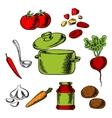 Recipe of tasty vegetarian soup vector image vector image