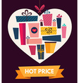 retail gifts in heart vector image vector image