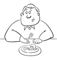 sad man on diet drawing vector image vector image