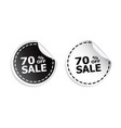 sale sticker sale up to 70 percents black and vector image vector image