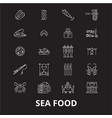 sea food icons editable line icons set on vector image vector image