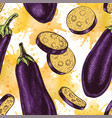 seamless pattern with eggplant sketch vector image vector image
