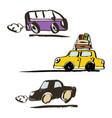 set of hand drawn retro car vector image