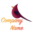 simple logo design a deep pink bird with vector image vector image