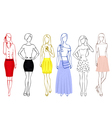 Sketches of girls in skirts vector image vector image