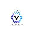 v blue hexagon letter logo with triangles vector image