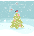 Winter Background with Christmas Tree vector image vector image