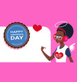 young african american girl over template banner vector image vector image