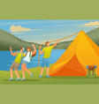 young people setting up a tent on lake flat vector image vector image