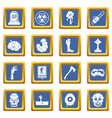 zombie icons set blue vector image vector image