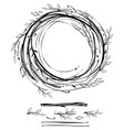 sketch style nest made of floral branches vector image