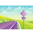 Summer road among fields and sign at vector image