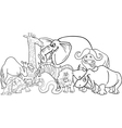 african safari animals cartoon for coloring vector image