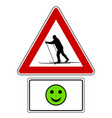 attention sign with optional label and smiley vector image