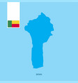 benin country map with flag over blue background vector image