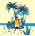 boy kid in shorts and t-shirt on background of vector image