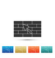 brick wall with trowel icon on white background vector image