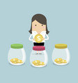 businesswoman putting coin into jar vector image vector image
