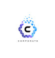 c blue hexagon letter logo with triangles vector image