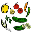 Cartoon tomatoes onion pepper and paprika silhouet vector image