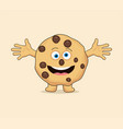 chocolate chip whole cookie cartoon vector image vector image