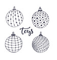 christmas ball toys doodle isolated set for vector image