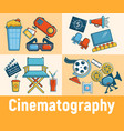 cinematography concept banner cartoon style vector image vector image