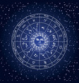 circle zodiac signs with sun on background of vector image vector image