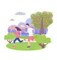 city park character sportive couple man and woman vector image vector image