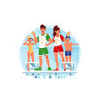 coaches and swimmers vector image vector image