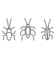 cockroach bug icons set outline style vector image