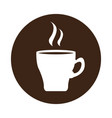 coffee mug icon on a label vector image