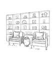 Cupboard and chair sketch Room interior vector image vector image