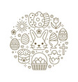 easter card circle template with flat line icons vector image vector image
