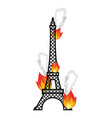 eiffel tower fire flame in paris disaster vector image vector image