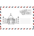 envelope with hand drawn taj mahal in india vector image vector image