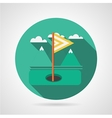 Flat icon for golf target flag vector image