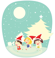girls in snow vector image