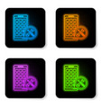 glowing neon mobile apps with screwdriver and vector image vector image