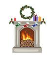 gray burning christmas fireplace with christmas vector image