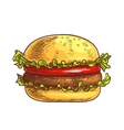 Hamburger fast food sketch icon vector image vector image